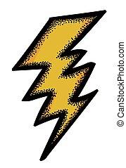 immagine, lampo, simbolo, bullone, icon., cartone animato