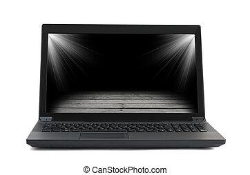 immagine, laptop, nero, pavimento