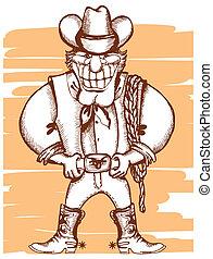 immagine, lasso., sorridente, vettore, cowboy, vendemmia
