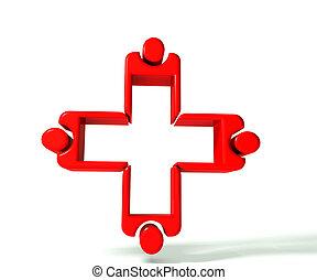 immagine, lavoro squadra, 3, medico, d