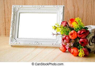 immagine, legno, vendemmia, cornice, vaso, fiori bianchi, desktop.