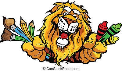 immagine, leone, vettore, mascotte, cartone animato, prescolastico, felice
