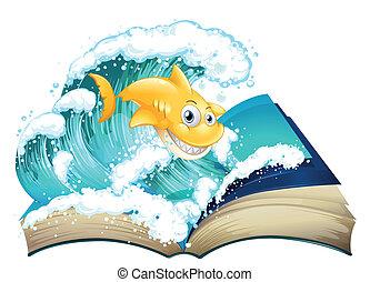 immagine, libro, squalo, onda