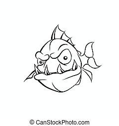 immagine, male, piranha