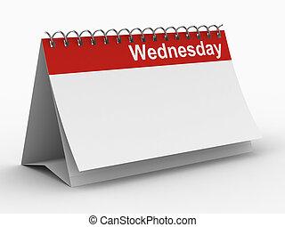 immagine, mercoledì, isolato, fondo., bianco, calendario, 3d