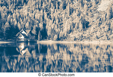 immagine, montagna, casa, drammatico, nero, paesaggio, bianco