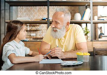 immagine, nipote, insieme, nonno, sorridente, pittura