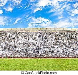 immagine, orizzontale, pietra, seamless, parete, verde, cieli, prato