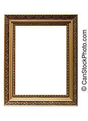 immagine, oro, cornice legno, isolato, placcato, vuoto