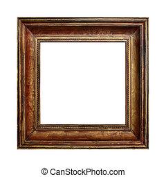 immagine, oro, cornice legno, su, il, bianco, isolato, fondo