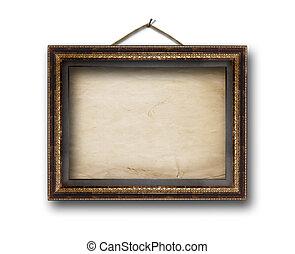 immagine, oro, cornice, su, il, bianco, isolato, fondo