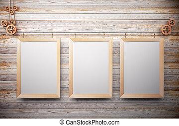 immagine, parete legno, su, vuoto, cornici, beffare