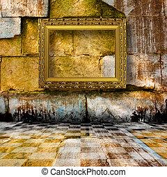 immagine, pietra, vecchio, stanza, legno, stile, vittoriano, cornici