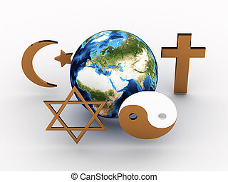 immagine, planet., simboli, nostro, religioso, 3d