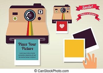 immagine, polaroid, vecchio, macchina fotografica, vendemmia