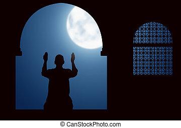 immagine, pregare, silhouette, uomo