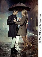 immagine, presentare, coppia, durante, autunno, sera