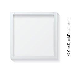 immagine, quadrato, cornice, parete, vuoto, realistico, appendere, bianco, front.