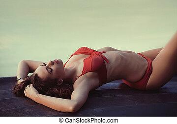 immagine, ragazza, brunetta, colorito, sexy