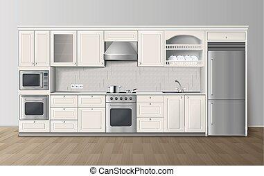 immagine, realistico, lusso, interno, bianco, cucina