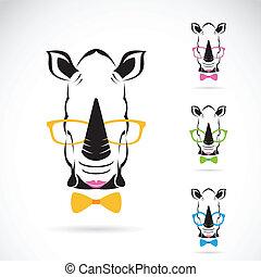 immagine, rinoceronte, fondo., vettore, bianco, occhiali