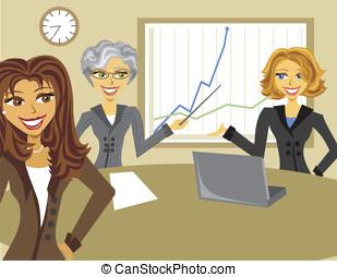 immagine, riunione, cartone animato, donne affari