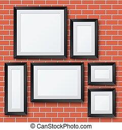 immagine, set, cornice, wall., vettore, vuoto, mattone