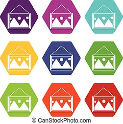 immagine, set, struttura parete, colorare, hexahedron, icona