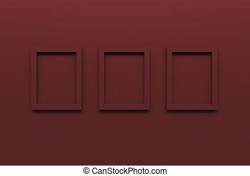 immagine, set, struttura parete, interpretazione, vuoto, rosso, 3d