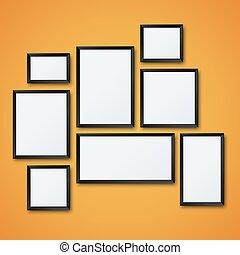 immagine, set, struttura parete, vettore, vuoto, arancia