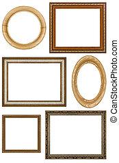 immagine, set, vendemmia, isolato, cornici, fondo, 6, bianco