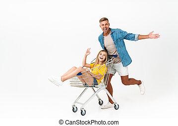 immagine, shopping, bello, carrello, famiglia, cavalcata, padre, mentre, divertimento, detenere, figlia