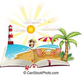 immagine, spiaggia, libro