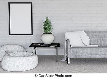 immagine, stanza, cornice, moderno, vuoto, interno, 3d