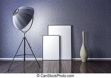 immagine, stanza, vivente, parete, cornice, vuoto