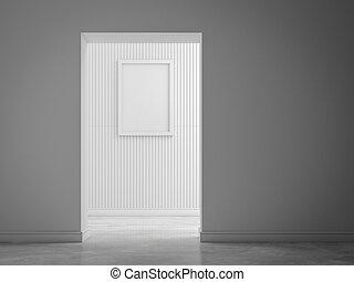 immagine, struttura parete, rendring, bianco, 3d