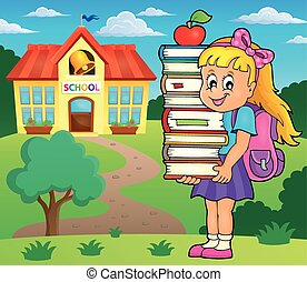 immagine, tema, 2, libri, presa a terra, ragazza