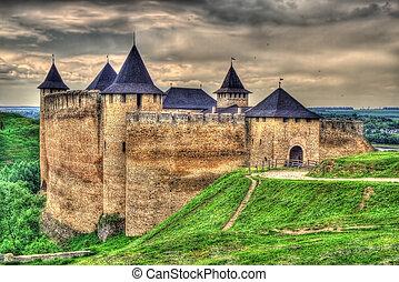 immagine, ukraine., hdr, khotyn, fortezza