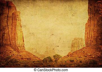 immagine, valle, grunge, paesaggio, monumento