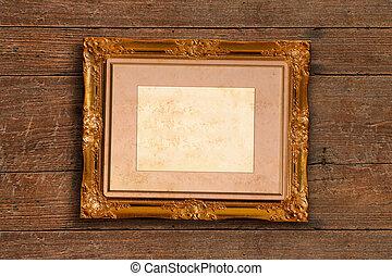 immagine, vecchio, oro, parete, cornice, legno