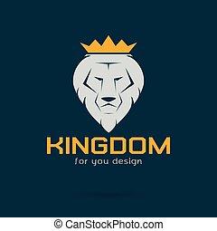 immagine, vettore, bianco, leone, incoronato
