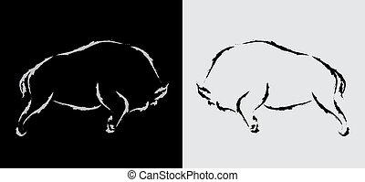 immagine, vettore, bisonte