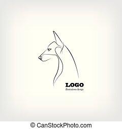 immagine, vettore, cane, fondo, bianco