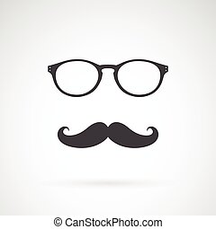 immagine, vettore, sfondo bianco, baffi, occhiali