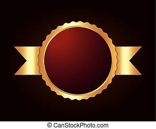 immagine, vuoto, metallico, sigillo, etichetta, o, icona