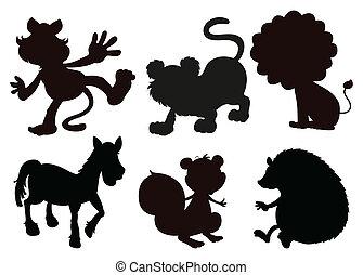 immagini, animali, nero, colorato