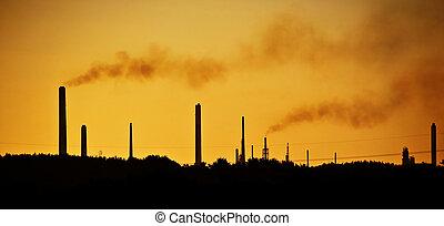immagini arancia, tinta, a, evidenziato, il, impatto, di, camino industriale, accatastare, inquinante, il, aria, in, uno, naturale, paesaggio, regolazione