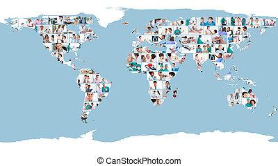 immagini, di, dottori, formare, uno, mappa mondo