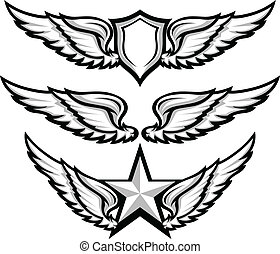 immagini, distintivo, vettore, emblema, ali