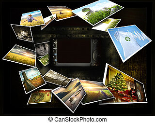 immagini, flusso continuo, macchina fotografica, intorno